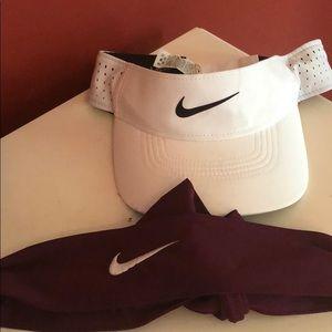 Nike visor and hair band